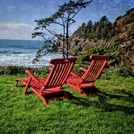 Red Chairs At Agate Beach by Thom Zehrfeld