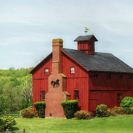 Red Country Barn with Chimney by Marilyn DeBlock