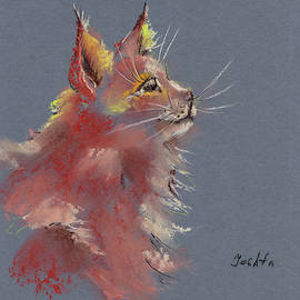 Red cute fluffy cat drawing  by Elena Sysoeva