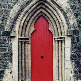 Red Door of an old Temple by Gergana Chakarova