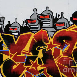 Red-eyed alien riot squad patrols festival site in Trieste, northeast Italy by Terence Kerr