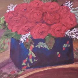 Red Flowers on Curved Shelf by Christy Saunders Church