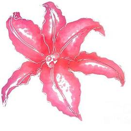 Delynn Addams - Red Lily Watercolor Painting by Delynn Addams