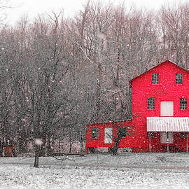 Red Mill In Snow by Jim Love