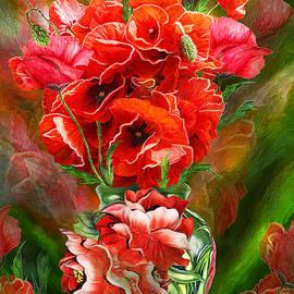 Red Poppies In Poppy Vase by Carol Cavalaris