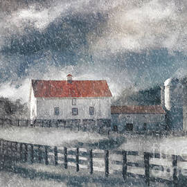 Lois Bryan - Red Roof Barn In Winter