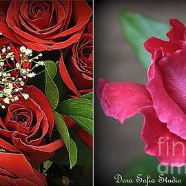 Red Roses for a Blue Lady - A collage by Dora Sofia Caputo