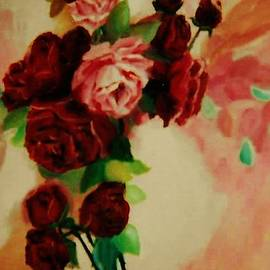 Red Roses on Pink  by Christy Saunders Church