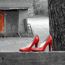 Red Shoes and Barn by Carmen Macuga