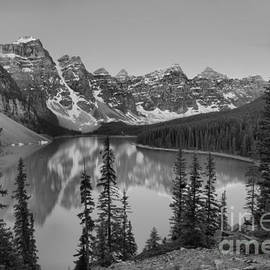 Red Tip Sunrise At Moraine Lake Black And White by Adam Jewell