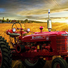 Red Tractor in Sunset Gold by Debra and Dave Vanderlaan