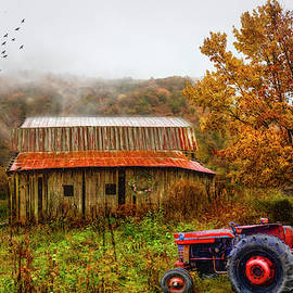 Red Tractor in the Mountain MIsts by Debra and Dave Vanderlaan