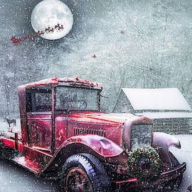 Debra and Dave Vanderlaan - Red Truck on Christmas Eve in the Snow