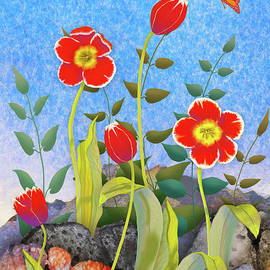 Red Tulips with Rocks by Teresa Ascone