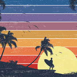 Retro Surfer Sunset by Kycstudio
