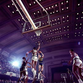 Rick Barry And Wilt Chamberlain Action by Walter Iooss Jr.