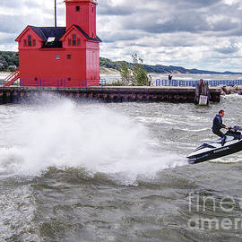 Riding Waves on Lake Michigan by Phil Perkins