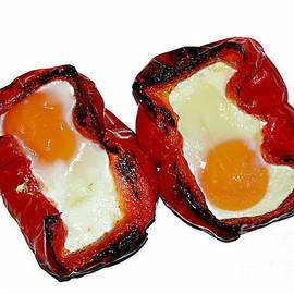 Roasted Red Peppers with Eggs by Kaye Menner