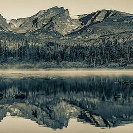 Rocky Mountain National Park Morning Panorama - Estes Park Colorado In Sepia by Gregory Ballos