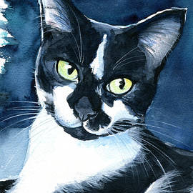 Rollie Tuxedo Cat Painting by Dora Hathazi Mendes