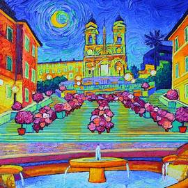 ROME MAGIC MOON NIGHT textural impressionist impasto palette knife oil painting Ana Maria Edulescu  by Ana Maria Edulescu