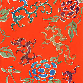 Rose and Dragon - Japanese traditional pattern design