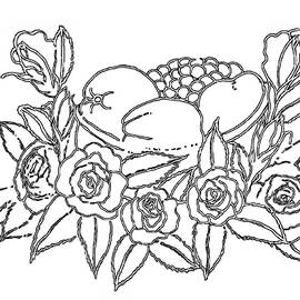 Rose Fruit Basket - PAINT MY SKETCH by Delynn Addams by Delynn Addams