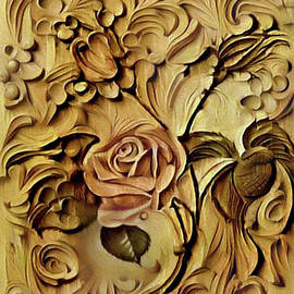 Rose in Wood Relief by Nina Silver