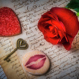 Rose On Old Letters With Cookies by Garry Gay