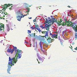Roses And Blue World Map by Irina Sztukowski