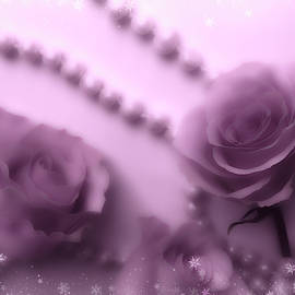 Roses And Pearls With White Snow by Johanna Hurmerinta