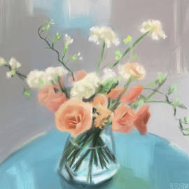 Roses Peach Blue Grey by Beverly Brown