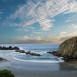 Row of sea stacks at Seal Rock beach by Steve Estvanik
