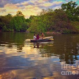 Rowing at Sunset - The Lake in Central Park by Miriam Danar