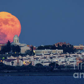 Royal Institute And Observatory Of The Spanish Navy Full Moon Rising by Pablo Avanzini