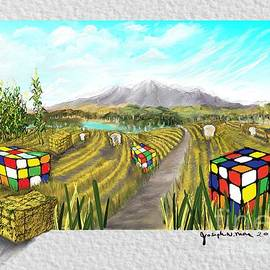 Rubric Cube and haystack by Joseph Mora