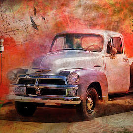 Rustic 1954 Chevy Pickup at Gas Pump by Betty Denise