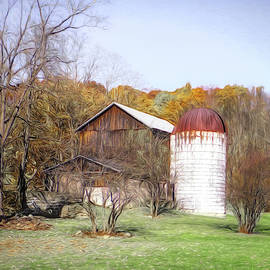Rustic Barn in October by Dennis Lundell