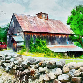 Rustic Barn with Antique Car by Betty Denise