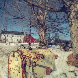 Rustic Mailbox On Winter Farm by Joann Vitali