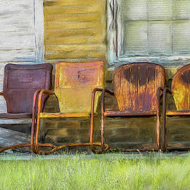 Rusty Chairs in Oil by Peggy Blackwell