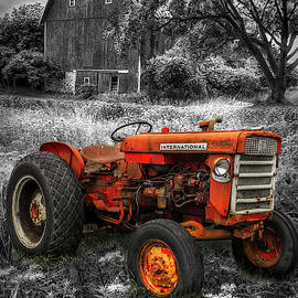 Rusty Old Tractor Black and White with Color Selected Red by Debra and Dave Vanderlaan