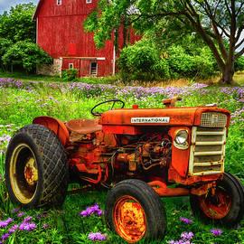 Rusty Red Tractor by Debra and Dave Vanderlaan