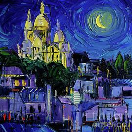 Mona Edulesco - SACRE COEUR PARIS NIGHTLIGHTS Palette Knife Oil Painting Mona Edulesco