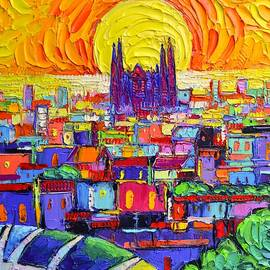 SAGRADA FAMILIA FROM PARK GUELL AT SUNRISE BARCELONA ABSTRACT CITIES impasto painting Ana Edulescu by Ana Maria Edulescu