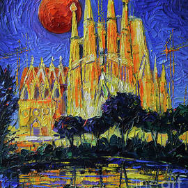SAGRADA FAMILIA ILLUMINATED - Impasto Palette Knife Oil Painting Mona Edulesco by Mona Edulesco