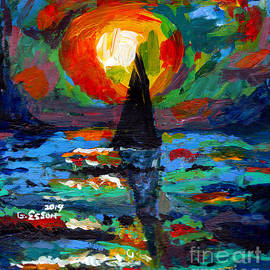 Sailboat At Sunset by Genevieve Esson