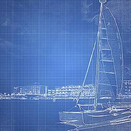 Sailboat Blueprinted by Alice Gipson