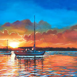 Sailboat Sunset in Key West by Robert Korhonen