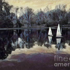 Sailboats at Twilight - Central Park New York by Miriam Danar